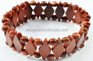 Semi-Precious Beads Gold Stone Stretch Bracelet (D-GS)