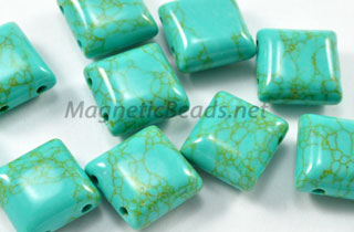 Semi-Precious Beads African Turquoise 2 Hole 10x10mm Spacers