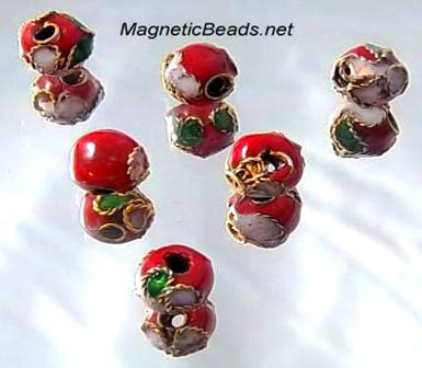 Cloisonne Accent Beads Red CLB-6-Red