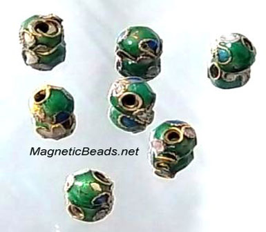 Cloisonne Accent Beads Emerald Green CLB-6-EG