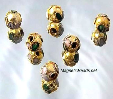 Cloisonne Accent Beads Gold Green CLB-6-GGRN
