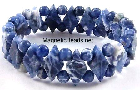 Semi-Precious Beads Blue Soadalite Stretch Bracelet (D-BS)