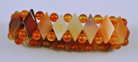 Semi-Precious Beads Carnelian Stretch Bracelet (D-Car)