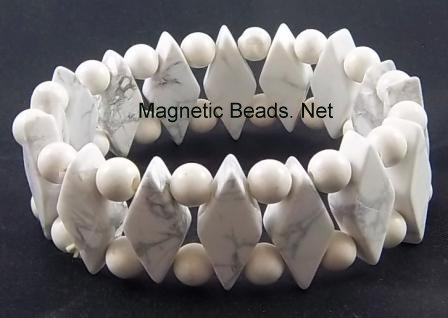 Semi-Precious Beads White Howlite Stretch Bracelet (D-WH)