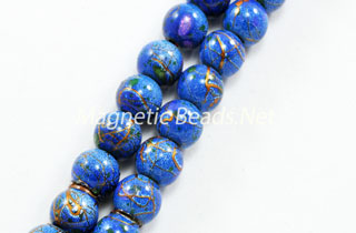 Magnetic Marbled Pearl Bead 6mm Blue Marble (MMBB-6)