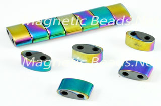 Magnetic Bead 6x12mm Rainbow Double Curved Space (MDC-6-R)