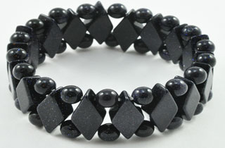 Semi-Precious Beads Blue Goldstone Stretch Bracelet (D-BG)