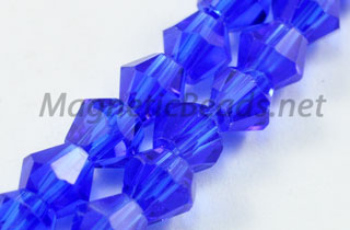 Glass Bead 4mm Bi-Cone Cobalt Blue (GBCB-04)