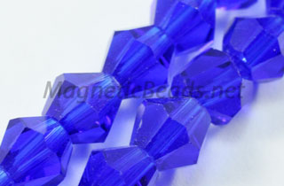 Glass Bead 6mm Bi-Cone Cobalt Blue (GBCB-06)