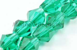 Glass Bead 6mm Bi-Cone Emerald Green (GBEG-06)