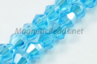 Glass Bead 4mm Bi-Cone Aqua AB (GBAQ-AB-4m)