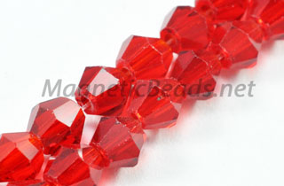 Glass Beads 4mm Bi-Cone Ruby Red (GBRUBY-04)