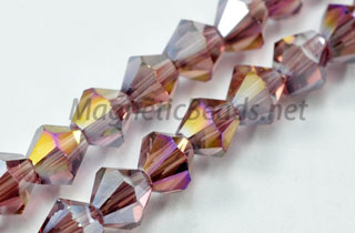 Glass Bead 4mm Bi-Cone Purple AB (GBPUR-AB-04)