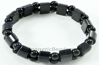 Semi-Precious Beads Blue Goldstone Stretch Bracelet (HC-BG