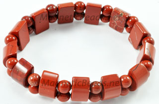 Semi-Precious Bead Red Jasper Stretch Bracelet (HC-RJ)