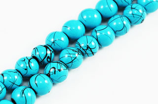 Magnetic Marbled Pearl Beads 6mm Blu Turq (MMBT-6)