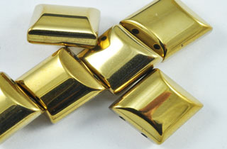 Magnetic Bead 2 Hole 10x10mm Gold Spacer (MS-10-G)