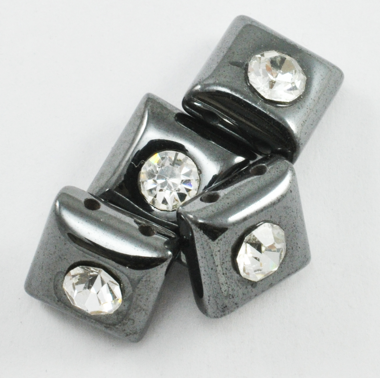 Magnetic Bead 10x10mm 2 Hole Spacer With Rhinestone (MS-10-RS)