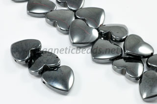 Magnetic Bead 12mm 2 Holed Hematite Heart (M-12)