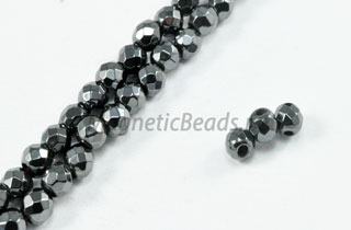 Triple Power Magnetic Bead Faceted 4mm Round (PM-201-F)