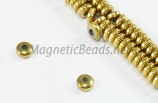 Magnetic Bead 4mm Gold Thin Roundel (M-09-G)