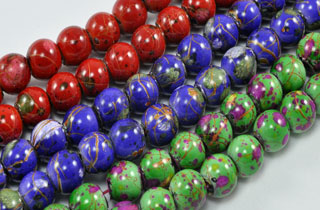 Magnetic Marbled Pearl Bead 6mm S Grn, VI, Red (MMPB)