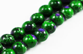 Magnetic Marbled Pearl Beads 6mm Green (MMBG-6)