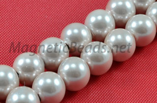 Magnetic Pearl Beads 6mm Round Med Pink (MPMP-206)