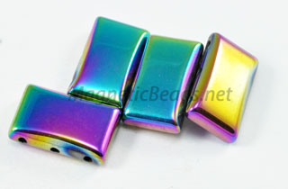 Magnetic Bead 17x10x5mm 3 Holed Rainbow Spacer (MS-10-3-R)