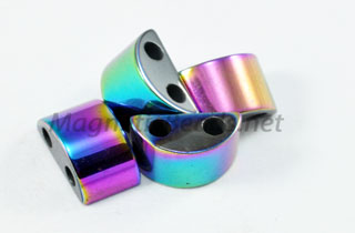 Magnetic Bead 6x12mm 2 Hole Rainbow Spacer (MHC-108-R)