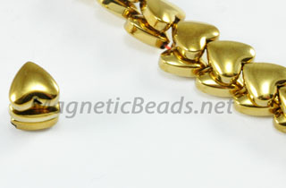 Magnetic Bead 6mm Gold Puffed Hearts (M-107-G)