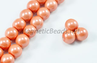 Magnetic Pearl Beads 6mm Round Peach Pink (MPPP-206)