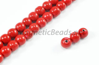 Magnetic Pearl Beads 4mm Round Red MCBR-04)