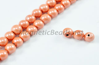 Magnetic Pearl Beads 4mm Round Peach Pink (MPPP-204)