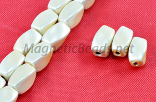 Magnetic Pearl Beads 4x7mm Creamy White Twist (MPW-509-C)