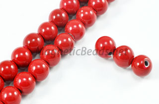 Magnetic Pearl Beads 6mm Round Red (MCBR-06)