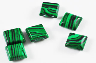 Semi Precious Beads Malachite 2 Hole 10x10mm Spacers SSA-10