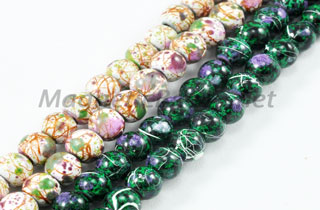 Magnetic Marbled Pearl Beads 4mm Green or White Marbled (MMB-4)