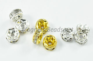 Metal Findings/Spacers Crystal Roundels 6m Silver or Gold CRS-1