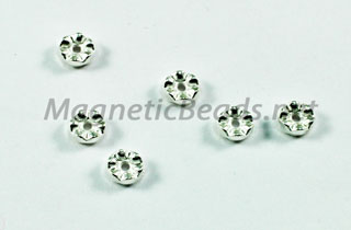 Metal Finding/Spacer 2x4mm Bright Silver Rondell (F-171)