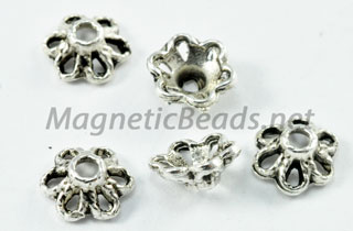 Metal Findings/Spacers 6mm Silver Metal Bead Cap (F-59)