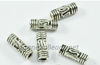 Metal Finding/Spacer 3x8 mm Metal Spacer Silver Tube (F-230)