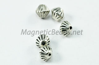 Metal Findings/Spacers 4mm Silver Metal Double Cone (F-35)