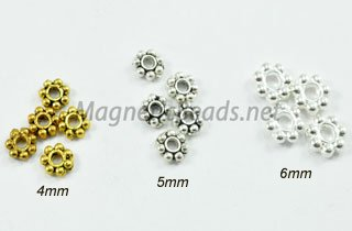 Metal Finding/Spacer 4,5,6mm Daisy Wheel Spacers (F-105)