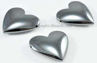 Non Magnetic Hematite 2 Hole 25 mm Heart Pendant H-25