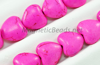Semi-Precious Beads Pink Turquoise 12m Puffed Heart (PI-12M)