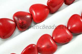 Semi-Precious Beads Red Turquoise 12m Puffed Heart (RED-12M)