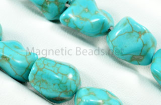 Semi-Precious Beads 10x12mm Blue Turquoise Nugget (N-10)
