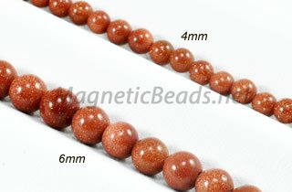 Semi-Precious Beads Goldstone Round 4mm and 6mm (GS)