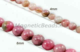 Semi-Precious Beads Rhodonite Round 4mm or 6mm (RHO)